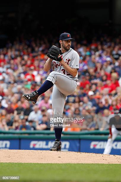 Justin Verlander of the Detroit Tigers pitches against the Cleveland Indians in the first inning at Progressive Field on September 17 2016 in...
