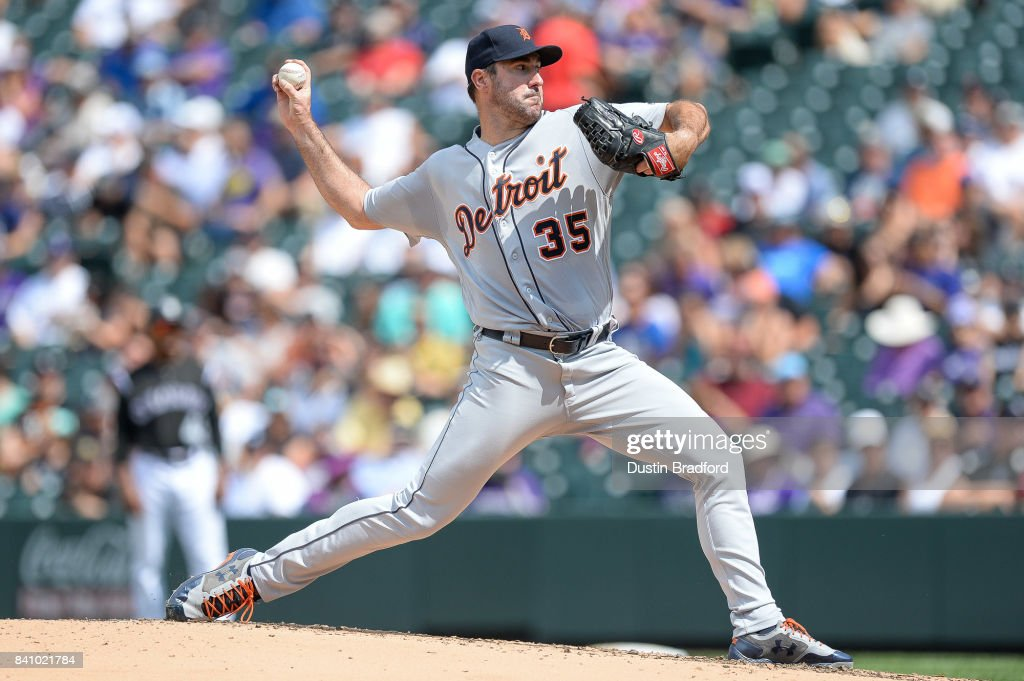 Justin Verlander #35 of the Detroit Tigers pitches against the Colorado Rockies in the third inning of a game at Coors Field on August 30, 2017 in Denver, Colorado.