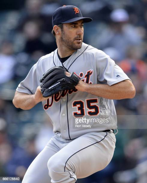 Justin Verlander of the Detroit Tigers pitches during the game against the Chicago White Sox on April 04 2017 at Guaranteed Rate Field in Chicago...