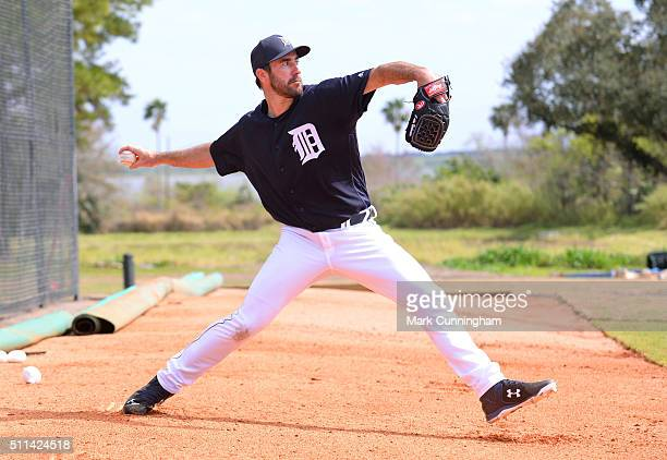 Justin Verlander of the Detroit Tigers pitches during the Spring Training workout day at the TigerTown Facility on February 20 2016 in Lakeland...