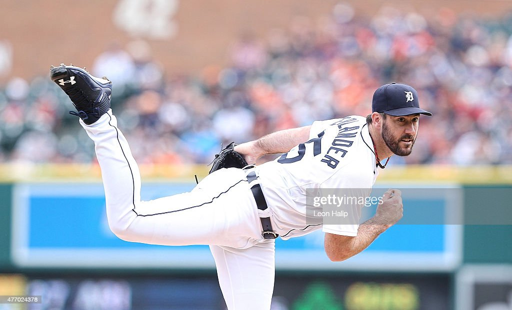 Justin Verlander #35 of the Detroit Tigers pitches in the first inning of the game against the Cleveland Indians on June 13, 2015 at Comerica Park in Detroit, Michigan.