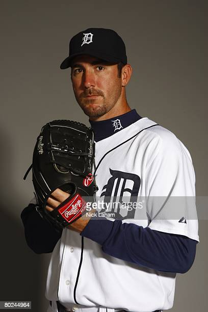 Justin Verlander of the Detroit Tigers poses for a portrait during Photo Day on February 23 2008 at Joker Marchant Stadium in Lakeland Florida