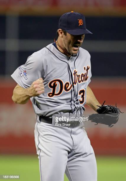 Justin Verlander of the Detroit Tigers reacts after striking out Eric Sogard of the Oakland Athletics in the fifth inning during Game Two of the...