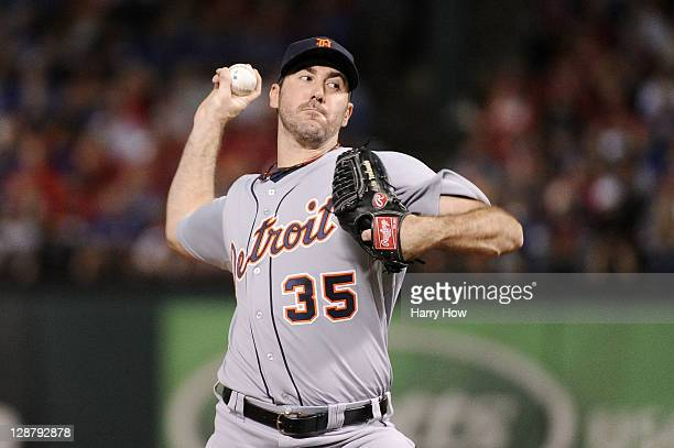 Justin Verlander of the Detroit Tigers throws a pitch against the Texas Rangers in the first inning of Game One of the American League Championship...