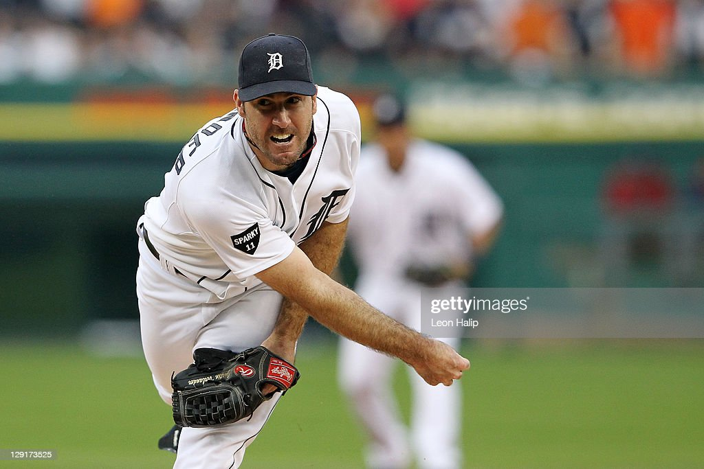 Justin Verlander #35 of the Detroit Tigers throws a pitch against the Texas Rangers in Game Five of the American League Championship Series at Comerica Park on October 13, 2011 in Detroit, Michigan.