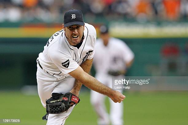 Justin Verlander of the Detroit Tigers throws a pitch against the Texas Rangers in Game Five of the American League Championship Series at Comerica...