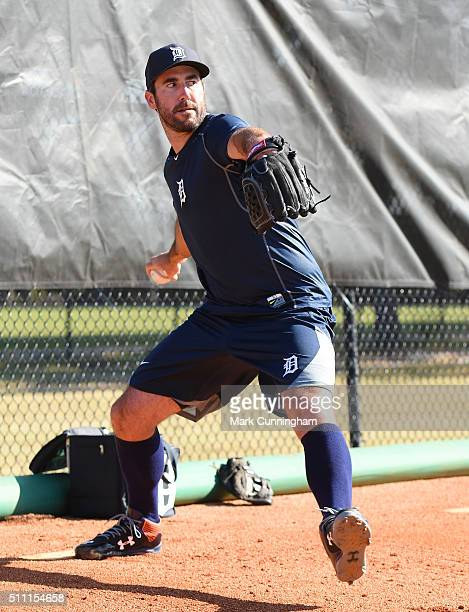 Justin Verlander of the Detroit Tigers throws a pitch during the Spring Training workout day at the TigerTown Facility on February 18 2016 in...