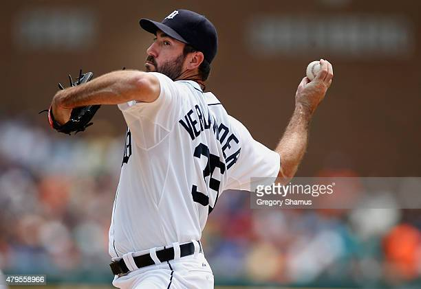 Justin Verlander of the Detroit Tigers throws a pitch in the first inning while playing the Toronto Blue Jays at Comerica Park on July 5th 2015 in...
