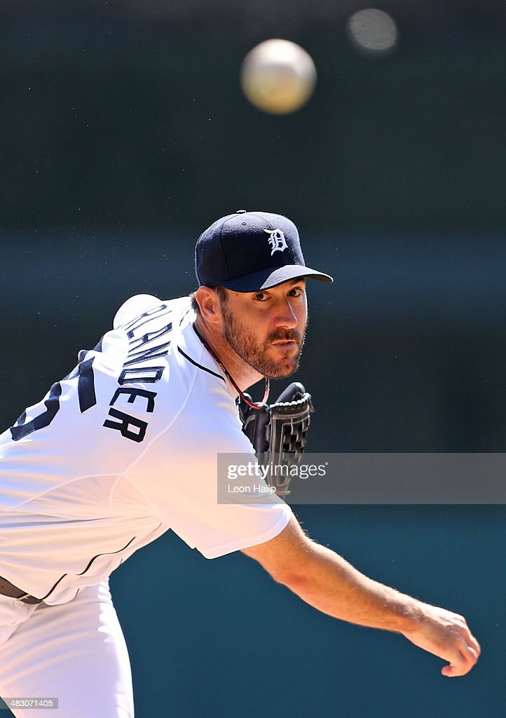 Justin Verlander #35 of the Detroit Tigers wamrs up prior to the start of the first inning of the game against the Baltimore Orioles at Comerica Park on April 6, 2014 in Detroit, Michigan.