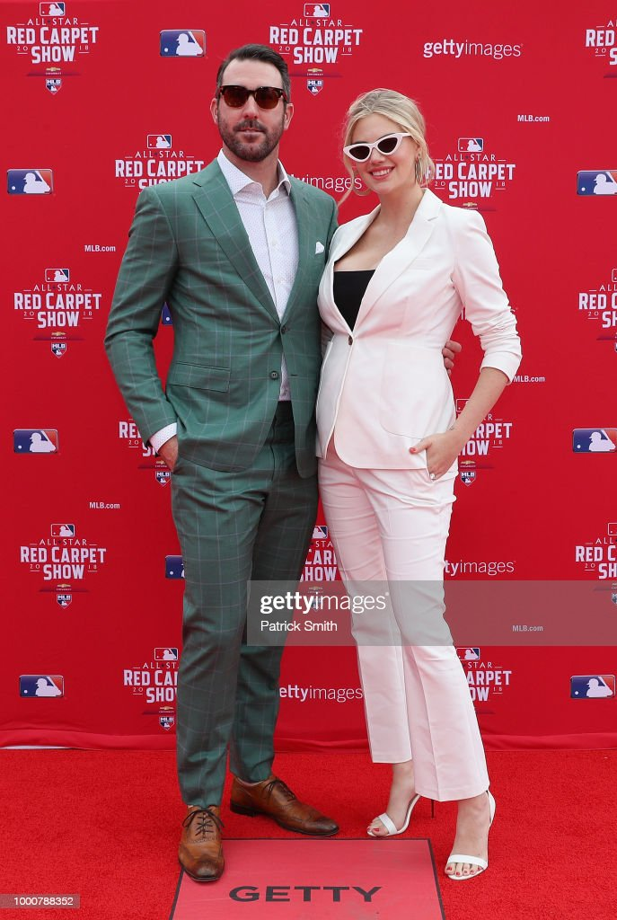 Justin Verlander #35 of the Houston Astros and the American League and wife Kate Upton attend the 89th MLB All-Star Game, presented by MasterCard red carpet at Nationals Park on July 17, 2018 in Washington, DC.