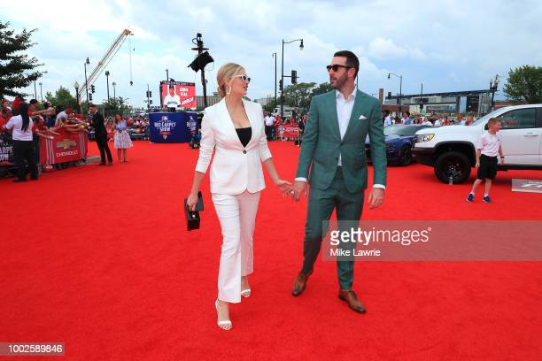 Justin Verlander of the Houston Astros and the American League and wife Kate Upton attend the 89th MLB AllStar Game presented by MasterCard red...