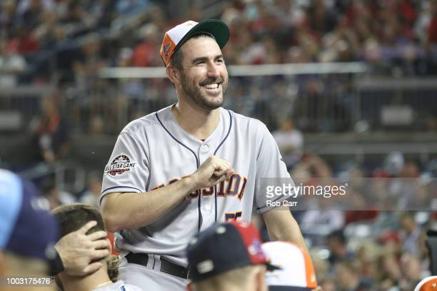 Justin Verlander of the Houston Astros and the American League during the 89th MLB AllStar Game presented by Mastercard at Nationals Park on July 17...