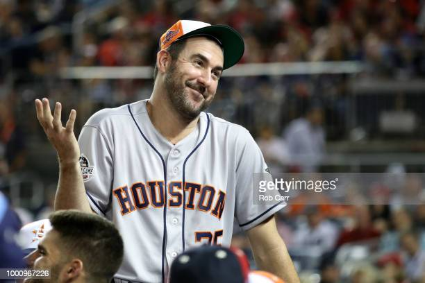 Justin Verlander of the Houston Astros and the American League reacts in the dugout in the fourth inning against the National League during the 89th...