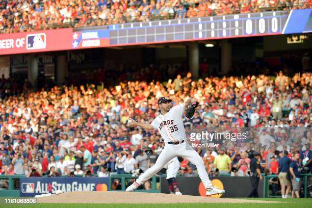 Justin Verlander of the Houston Astros and the American League pitches during the 2019 MLB AllStar Game presented by Mastercard at Progressive Field...