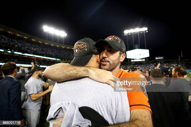 Justin Verlander of the Houston Astros celebrates after defeating the Los Angeles Dodgers 51 in game seven to win the 2017 World Series at Dodger...