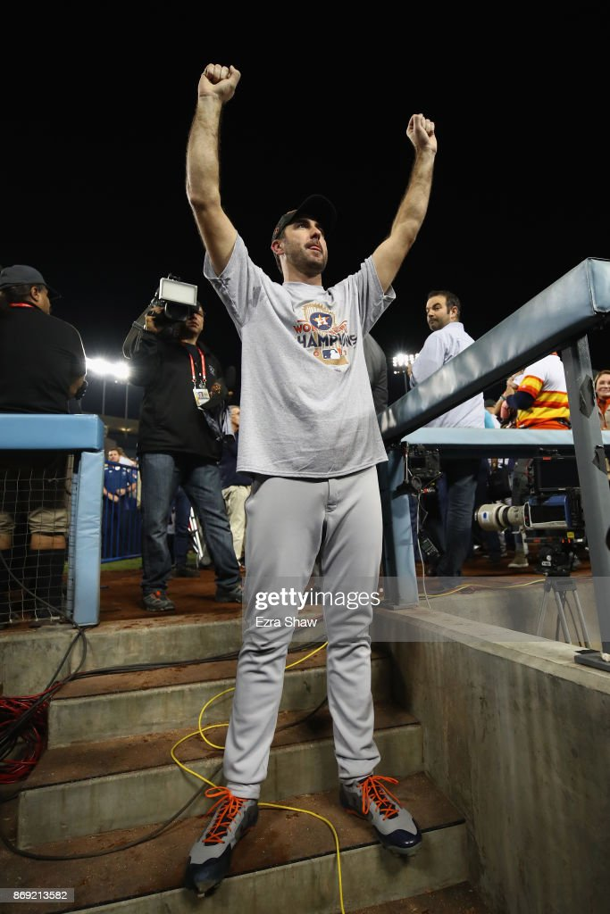 Justin Verlander #35 of the Houston Astros celebrates after defeating the Los Angeles Dodgers 5-1 in game seven to win the 2017 World Series at Dodger Stadium on November 1, 2017 in Los Angeles, California.