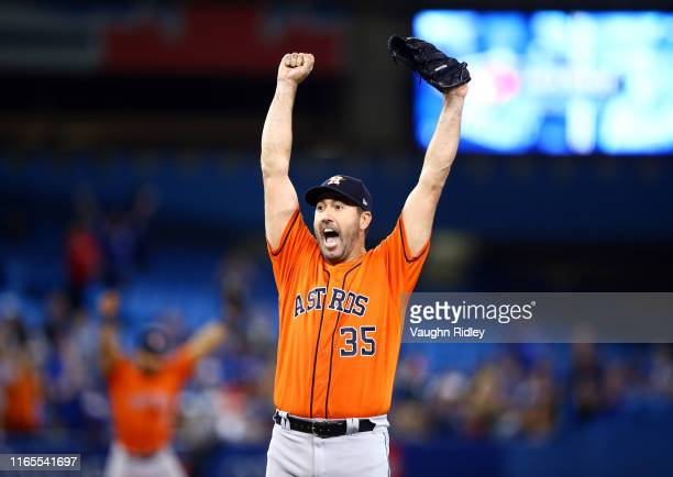 Justin Verlander of the Houston Astros celebrates after throwing a no hitter at the end of the ninth inning during a MLB game against the Toronto...