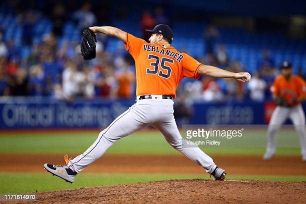 Justin Verlander of the Houston Astros delivers a pitch to Reese McGuire of the Toronto Blue Jays in the ninth inning during a MLB game at Rogers...
