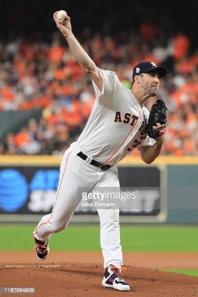 Justin Verlander of the Houston Astros delivers the pitch against the Washington Nationals during the first inning in Game Two of the 2019 World...