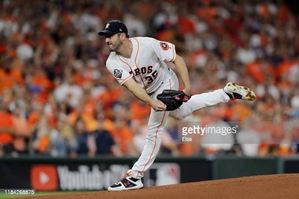Justin Verlander of the Houston Astros delivers the pitch against the Washington Nationals during the first inning in Game Six of the 2019 World...