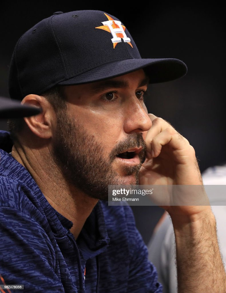 Justin Verlander #35 of the Houston Astros looks on during a game against the Tampa Bay Rays at Tropicana Field on June 29, 2018 in St Petersburg, Florida.