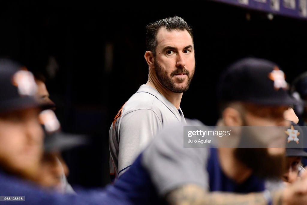 Justin Verlander #35 of the Houston Astros looks on during the sixth inning against the Tampa Bay Rays on June 30, 2018 at Tropicana Field in St Petersburg, Florida.