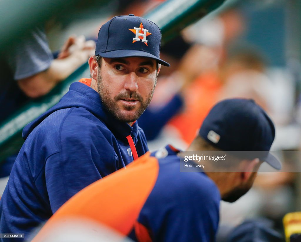 Justin Verlander #35 of the Houston Astros looks on from the bench during game two of a double-header against the New York Mets at Minute Maid Park on September 2, 2017 in Houston, Texas.