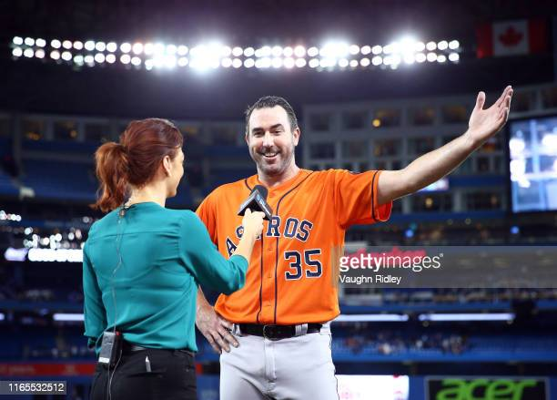 Justin Verlander of the Houston Astros participates in an interview after throwing a no hitter at the end of the ninth inning during a MLB game...