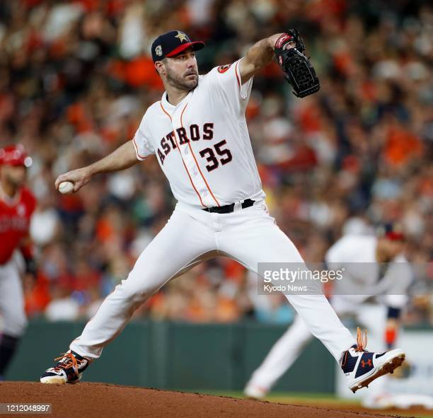Justin Verlander of the Houston Astros pitches against the Los Angeles Angels on July 5 in Houston Texas