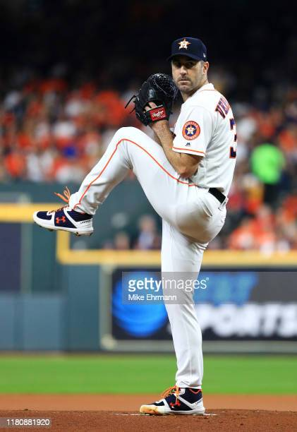 Justin Verlander of the Houston Astros pitches during the first inning against the New York Yankees in game two of the American League Championship...