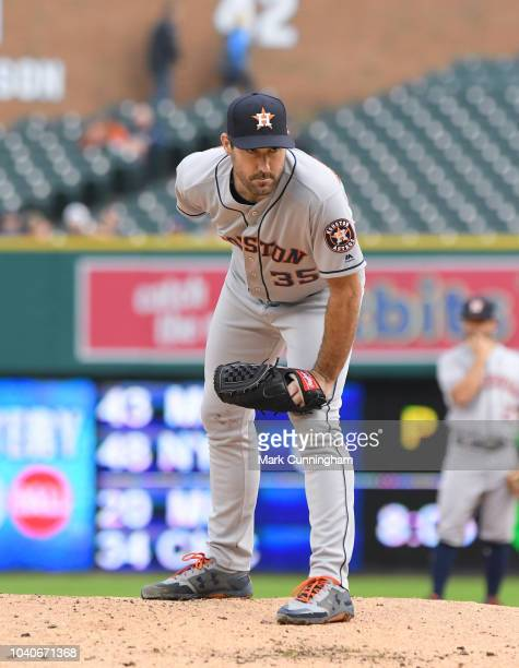 Justin Verlander of the Houston Astros pitches during the game against the Detroit Tigers at Comerica Park on September 10 2018 in Detroit Michigan...