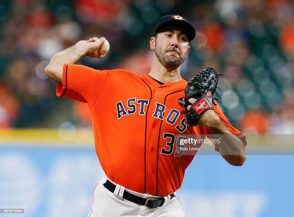 Justin Verlander #35 of the Houston Astros pitches in the first inning against the Los Angeles Angels of Anaheim at Minute Maid Park on September 22, 2017 in Houston, Texas.