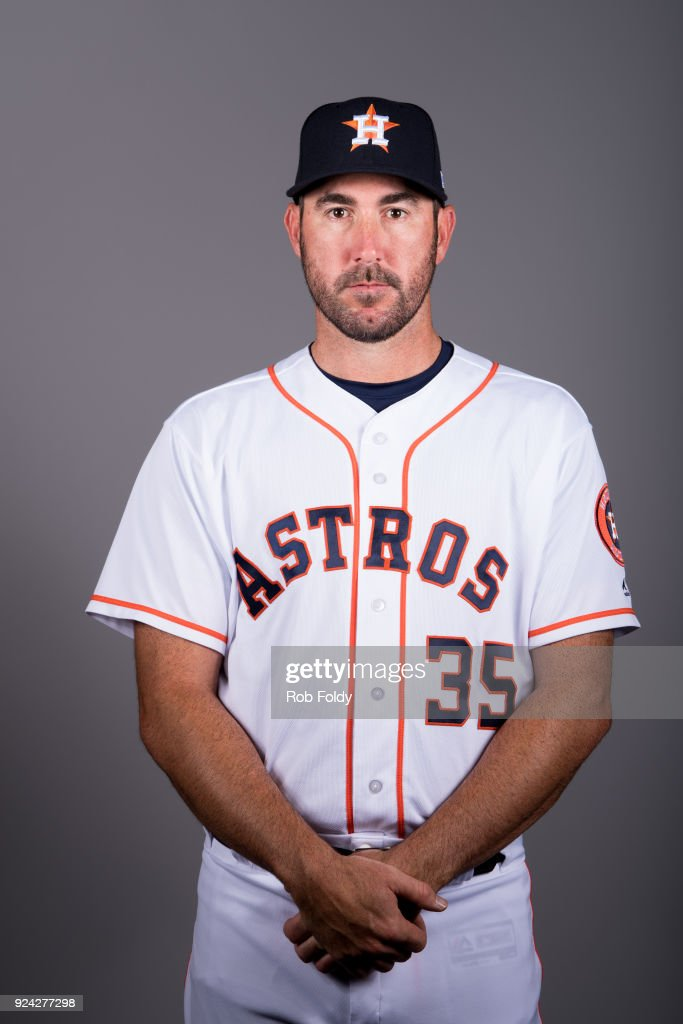Justin Verlander #35 of the Houston Astros poses during Photo Day on Wednesday, February 21, 2018 at the Ballpark of the Palm Beaches in West Palm Beach, Florida.