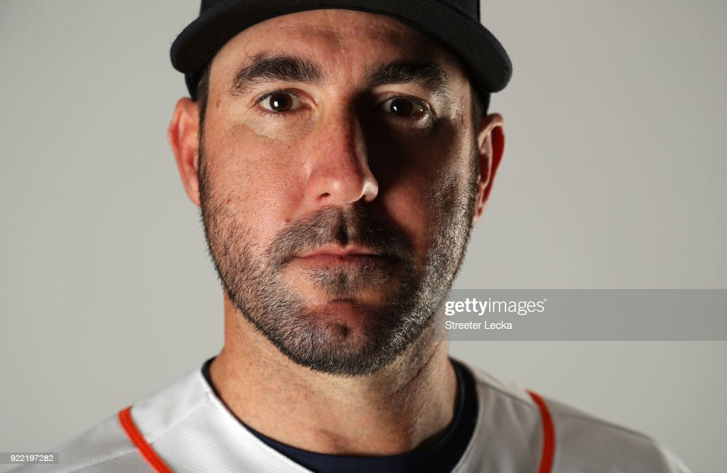 Justin Verlander #35 of the Houston Astros poses for a portrait at The Ballpark of the Palm Beaches on February 21, 2018 in West Palm Beach, Florida.