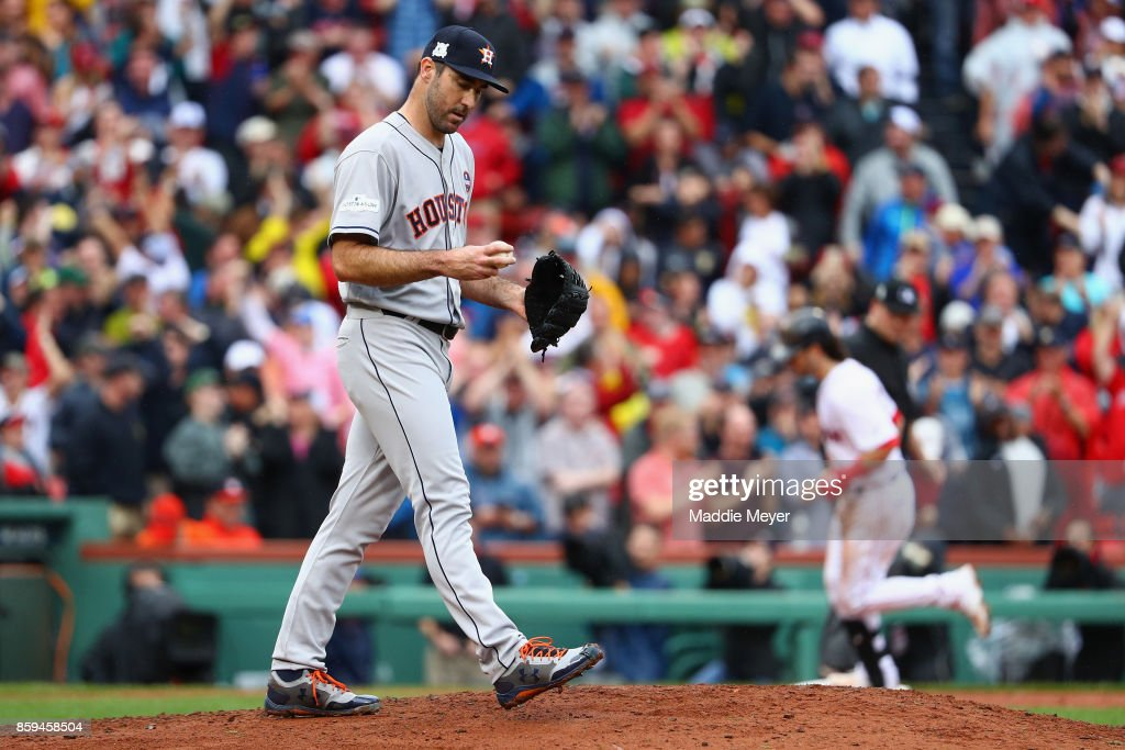 Justin Verlander #35 of the Houston Astros reacts after allowing a two-run home run to Andrew Benintendi #16 of the Boston Red Sox in the fifth inning during game four of the American League Division Series at Fenway Park on October 9, 2017 in Boston, Massachusetts.