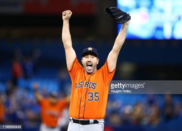 Justin Verlander of the Houston Astros reacts after throwing a no hitter at the end of the ninth inning during a MLB game against the Toronto Blue...