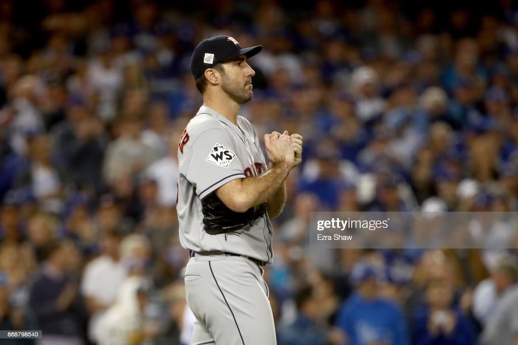 Justin Verlander #35 of the Houston Astros reacts during the sixth inning against the Los Angeles Dodgers in game six of the 2017 World Series at Dodger Stadium on October 31, 2017 in Los Angeles, California.