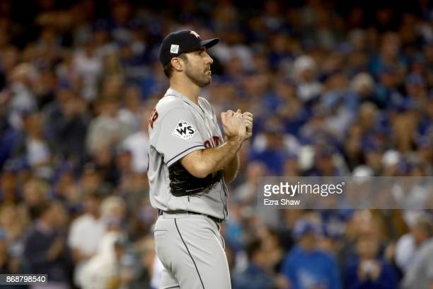 Justin Verlander of the Houston Astros reacts during the sixth inning against the Los Angeles Dodgers in game six of the 2017 World Series at Dodger...