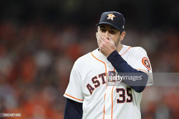 Justin Verlander of the Houston Astros reacts in the sixth inning against the Boston Red Sox during Game Five of the American League Championship...