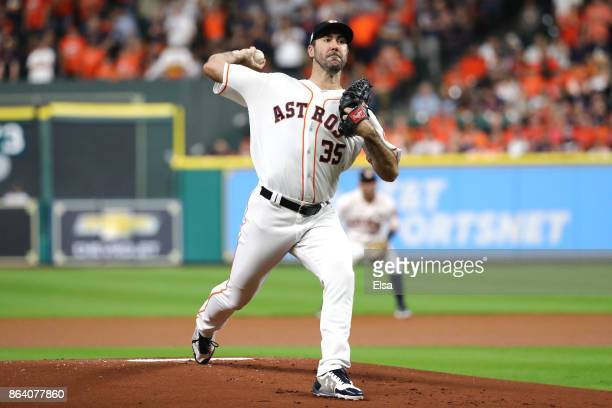 Justin Verlander of the Houston Astros throws a pitch against the New York Yankees during the first inning in Game Six of the American League...