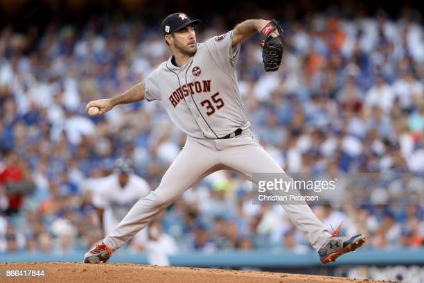 Justin Verlander of the Houston Astros throws a pitch during the first inning against the Los Angeles Dodgers in game two of the 2017 World Series at...