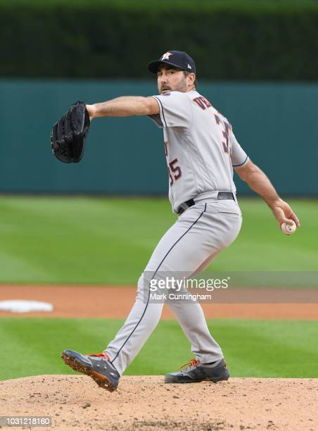 Justin Verlander of the Houston Astros throws a warmup pitch during the game against the Detroit Tigers at Comerica Park on September 10 2018 in...