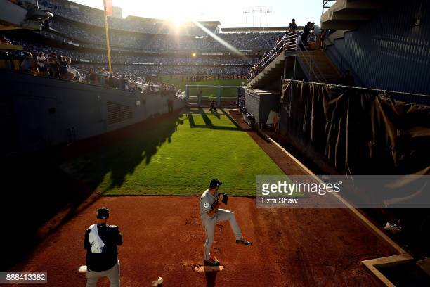 Justin Verlander of the Houston Astros throws in the bullpen before game two of the 2017 World Series against the Los Angeles Dodgers at Dodger...