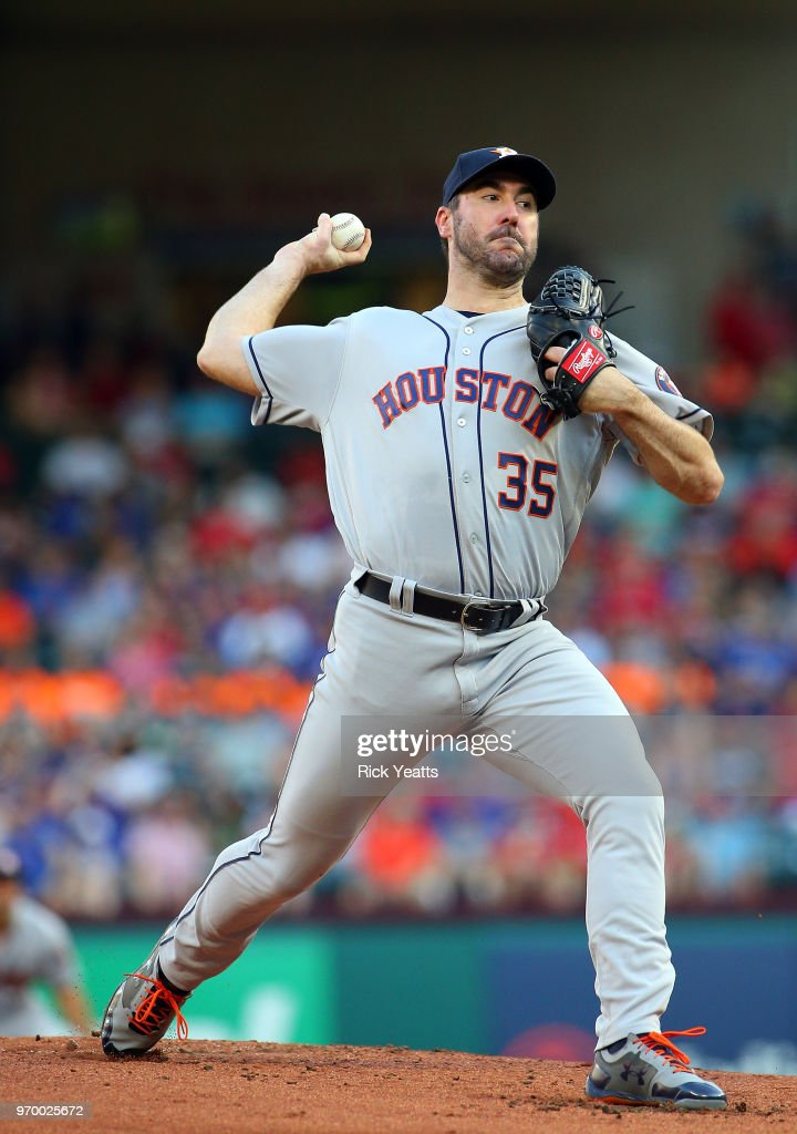 Justin Verlander #35 of the Houston Astros throws in the first inning against the Texas Rangers at Globe Life Park in Arlington on June 8, 2018 in Arlington, Texas.