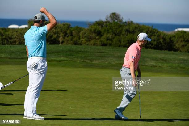 Justin Verlander pumps his fist after his playing partner Russell Knox makes a putt during the second round of the ATT Pebble Beach ProAm at Pebble...