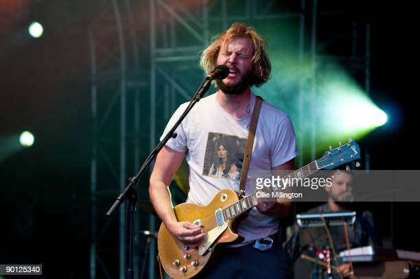 Justin Vernon and Sean Carey of Bon Iver performing on stage on the second day of the Summer Sundae Weekender at De Montfort Hall And Gardens on...