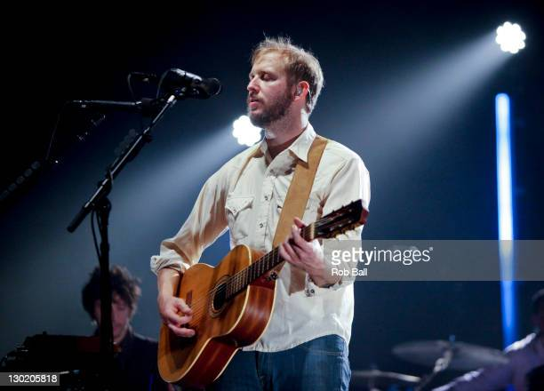 Justin Vernon from Bon Iver performs at Hammersmith Apollo on October 24 2011 in London England