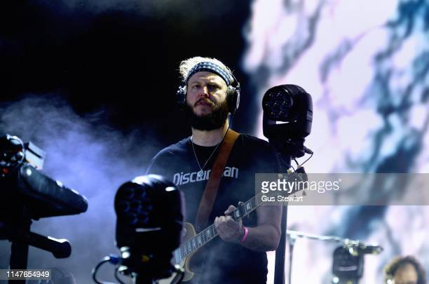 Justin Vernon of Bon Iver performs as headliner on the North stage during the All Points East Festival in Victoria Park on June 2 2019 in London...