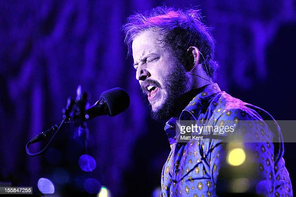 Justin Vernon of Bon Iver performs at Wembley Arena on November 8 2012 in London England