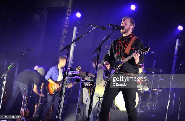 Justin Vernon of Bon Iver performs on stage at HMV Hammersmith Apollo on October 23 2011 in London United Kingdom